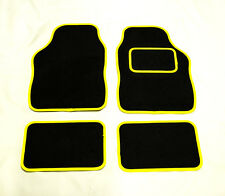 BRITISH LEYLAND & ROVER Classic Mini UNIVERSAL Car Floor Mats Black & YELLOW