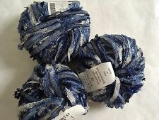 LOT of 3 Trendsetter Boing Ribbon Yarn #1701 Calvins - Blues & White
