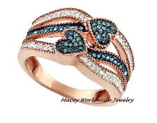 14K ROSE GOLD SILVER MEDITERRANEAN BLUE & WHITE DIAMOND HEART TO HEART RING .30C