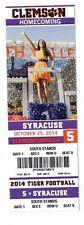2014 CLEMSON TIGERS VS SYRACUSE ORANGE TICKET STUB 10/25/14