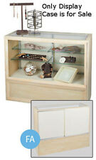 """Two Glass Shelves Antique White Full Vision Display Case 38""""H x 18""""D x 48""""L"""