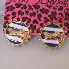 E231 BETSEY JOHNSON Baby Crocodile Crystal Croc Alligator Badge Earrings  US