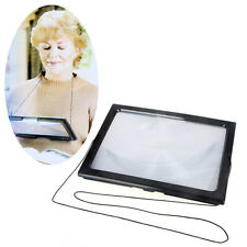 Large A4 Full Page Hands Free Magnifying Glass Sheet 4LED Magnifier Neck Cord US