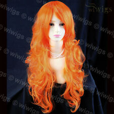 Stunning Long Curly Hot Orange Ladies Wigs Skin Top Cosplay Wig from WIWIGS UK