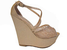 Beige Wedge Platform Lace Glitter Rhinestone Peep Toe Heels Sandals Shoes 10