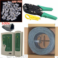 305M CAT6 Roll Crimping Cable Tester Tool RJ45 Boots Connectors Network LAN Kit