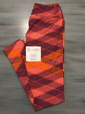 Brand New LuLaRoe One Size OS Salmon Orange Blue Cream Leggings