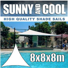 HEAVY DUTY SHADE SAIL-8Mx8Mx8M TRIANGLE IN SAND, 8x8x8m,BEIGE