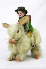 Antique German Wind Up mechanical Hopping Easter Rabbit with Bisque Rider ca1910