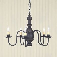 Lancaster 5 arm Wooden Chandelier in Black / Red | Primitive Country Lighting