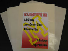10 A3 Laser Copier Printer Clear Adhesive Sticker Film Sheets 80mic Paper Backed
