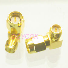 2pcs Conversion Adapter RP*SMA female to SMA male plug 90° connector for Antenna
