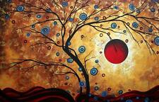 Framed Print - Abstract Apple Tree with Red Sun (Picture Poster Flowers Art)