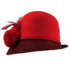 Winter Wool 1920s Houndstooth Faux Fur Feathers Flip Cloche Bucket Hat Red Blk