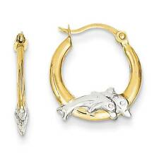 14K Yellow Gold Jumping Dolphins Hinged Hoop Earrings Madi K Children's Jewelry