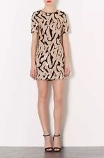 TOPSHOP tinsel Sequin Glitter Gold Black Print Party Dress Short 8 10 Christmas