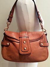 JAEGER HANDBAG BROWN LEATHER STUDS