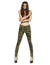 Womens Camouflage Military Army Ripped Pencil Jeggings Denim Pants Skinny Jeans