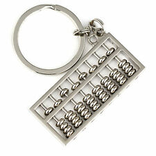 Silver Chinese Style Five Beads Abacus Keychain Key Chain Ring Keyring Keyfob