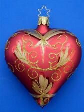 INGE GLAS RED GOLD BLOWN GLASS HEART GERMAN CHRISTMAS TREE ORNAMENT