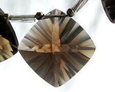 Natural Smoky Quartz Concave Convex Cushion Briolette Bead Pendant