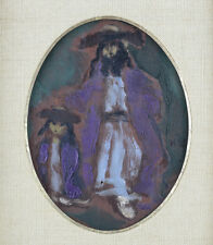 Expressionist Oil Painting of a Hasid and Son by Emmanuel Mané-Katz