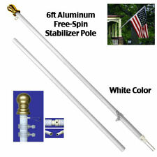 6ft Aluminum Spinning Tangle Free Stabilizer Flag Pole White Gold Ball