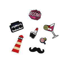 7pcs Embroidered Sew Iron on Patch Badge Applique Lighthouse Lollipop Radio Boom