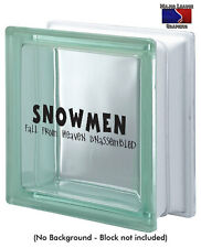 Snowmen Fall From Heaven Unassembled Christmas Glass Block Decal Holiday Decor
