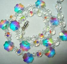 VERY PRETTY VINTAGE 50S/60'S SWAROVSKI AB CRYSTAL GLASS FLOWER BEADS NECKLACE