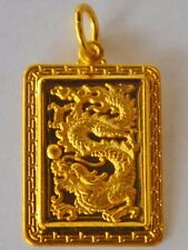 24K Gold Lucky Dragon Pendant 6g 9999 Pure Asian Thai Gold Baht Yellow Charm 999