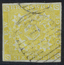 NEW BRUNSWICK #2 SCARCE Used - 1851 6p Olive Yellow
