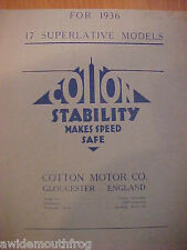 Cotton 1937 Motor Cycle All Models Original Sales Folder