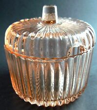 Vintage Depression Pink Glass Sugar Bowl with Lid (C3)