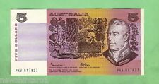1985  R209b  TYPE JOHNSTON / FRASER PAPER  $5 BANKNOTE, SERIAL No.PXV 017827