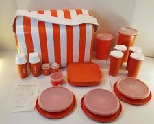 Vintage Orange Tupperware Picnic Set - Glasses-Plates-Bowls-Lids-Condiments-MORE