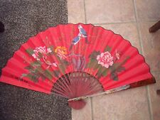 Chinese or Japanese Fan Birds & Flowering Shrubs Lacquer Wood & Cloth signed,