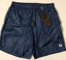 NWT GUCCI Men's 354551 TECHNICAL NYLON W/GG DAMASK/WHITE SWIM TRUNKS Size LARGE