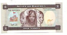 Eritrea 1 nakfa 24-5-1997  FDS UNC  Pick 1   Lotto 2986