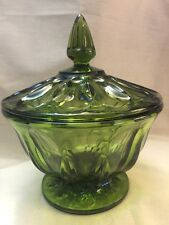 Vintage Indiana Depression Glass Footed Candy Dish with Lid Avocado Green color