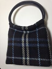 BURBERRY LONDON Blue/Brown Wool Plaid House Check Top Handle Shoulder Bag
