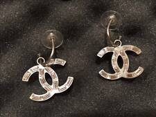 CHANEL SILVER METAL CC LOGO CRYSTAL REVERSIBLE PIERCED EARRINGS