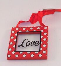 Red White Wood Love Valentines Day Sign Ornament Decoration Gift