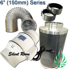 "6""/150mm HYDROPONICS LOW NOISE DUCT FAN DUCTING CARBON FILTER VENTILATION COMBO"