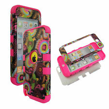 Pink Multi Paisley  Hybrid 3 in 1 Apple  Ipod Touch 5 Case Hard Cover Faceplate