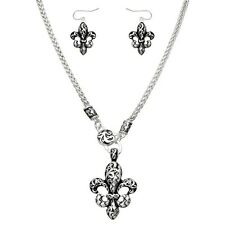 "Textured Fleur De Lis Fashionable Necklace & EarringsSet - Fish Hook - 18"" Chain"