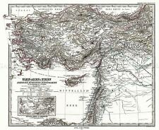 MAP ANTIQUE 1873 PERTHES TURKEY SYRIA PALESTINE REPLICA POSTER PRINT PAM0349