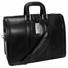 "McKlein USA Morgan Leather 17"" Litigator Laptop Briefcase Black 83345"