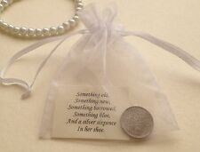 Silver Sixpence in Organza Gift Bag - for Bride's Shoe - Lucky Wedding Charm