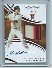 2016 Immaculate BB #118 Mac Williamson Giants ROOKIE AUTOGRAPH PATCH RC RED #/49